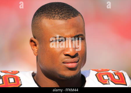 Tampa, FL, USA. 13th Oct, 2013. Tampa Bay Buccaneers cornerback Leonard Johnson (29) with his helmet off during - Stock Photo