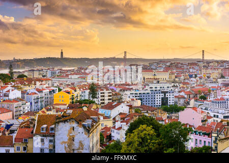 Lisbon, Portugal skyline at sunset. - Stock Photo