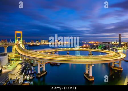 Tokyo, Japan view of Rainbow Bridge loop. - Stock Photo