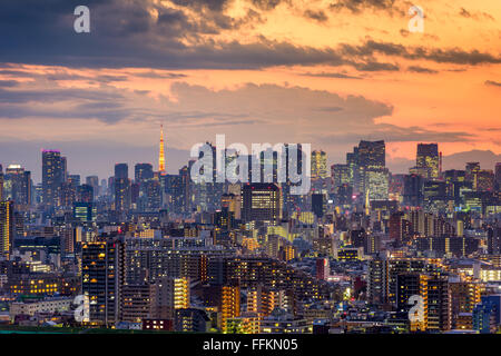 Tokyo, Japan city skyline at dusk. - Stock Photo