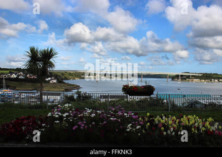 View from Neyalnd of the river Cleddau road toll bridge - Stock Photo
