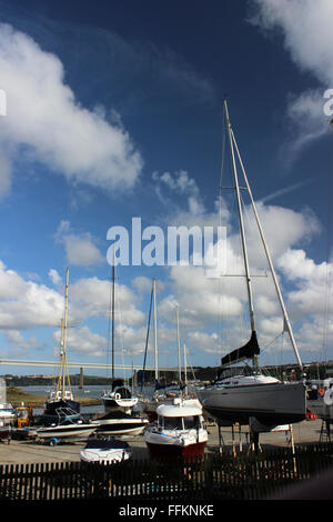 Yachts in Neyland yachting club Dyfed Wales - Stock Photo
