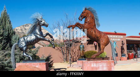 Art displayed outside Goldenstein Gallery in Sedona - Stock Photo