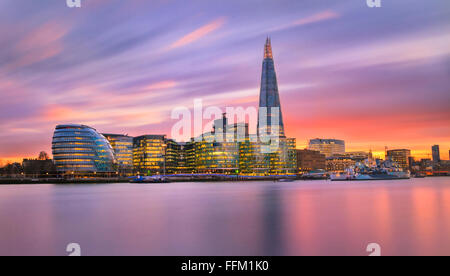 A view towards City Hall, The Shard and other Buildings along with River Thames, London, UK. - Stock Photo
