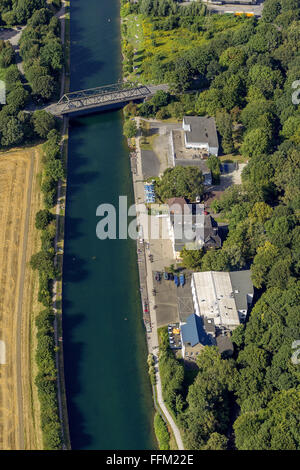 Aerial view, Dortmund-Ems Canal north of the port of Dortmund, regatta training route the Olympic champion in the - Stock Photo