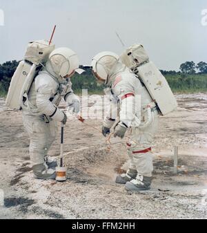 NASA Apollo 14 astronauts Alan B. Shepard Jr. (right), commander, and Edgar D. Mitchell, lunar module pilot, during - Stock Photo