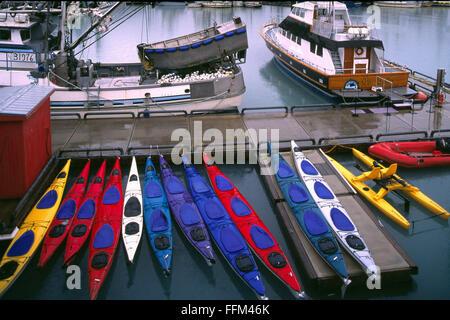 Valdez, Alaska, USA - Kayaks for Rent in Harbor - Stock Photo