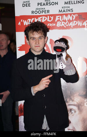 London, UK. 15th February, 2016. Harry Melling attends the of 'Hand To God' press night at Vaudeville Theatre on - Stock Photo