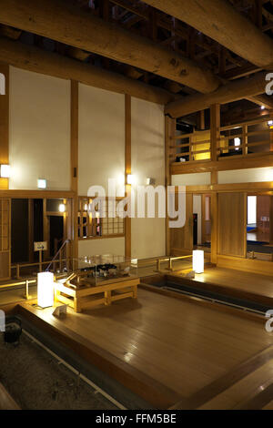 Reconstructed kitchen at Honmaru Goten Palace inside Kumamoto Castle complex - Stock Photo