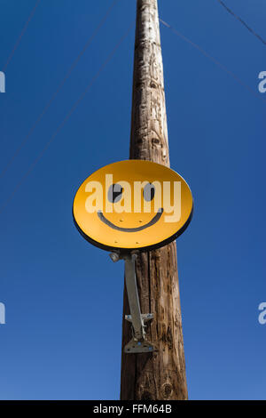 a yellowish orange smiley face satellite antenna attached to a wooden stock photo royalty free. Black Bedroom Furniture Sets. Home Design Ideas