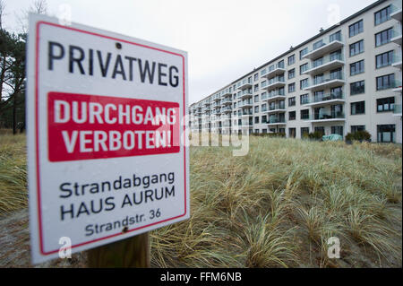 View of holiday apartments in Block 2 in the listed Prora complex on the island Ruegen, Germany, 15 February 2016. - Stock Photo