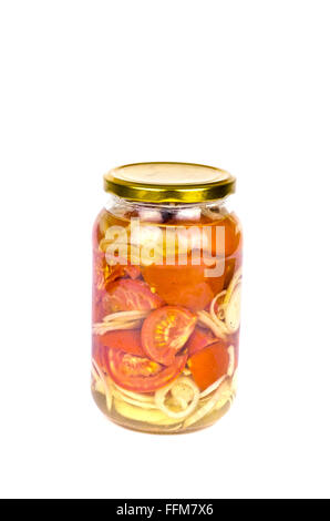 Canned red halfed tomatoes and sliced onions isolated on white in a jar - Stock Photo