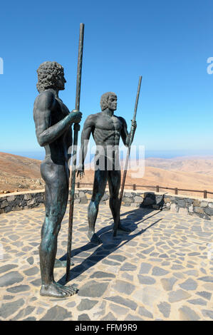 Statues of kings Guise and Ayose, Parque Rural, Fuerteventura, Canary Islands, Spain - Stock Photo