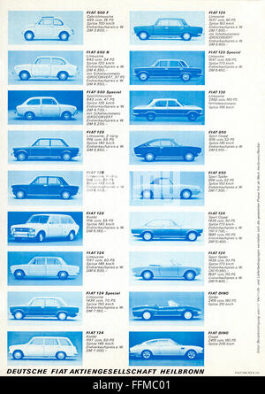 transport / transportation, car, vehicle variants, Fiat, advertising, leaflet of Fiat Germany, Heilbronn, September - Stock Photo