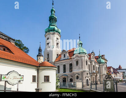 Poland, Silesian Voivodship, Pszczyna (Pless), view of the Neo-baroque Protestant Church, at the gate house of Pszczyna - Stock Photo