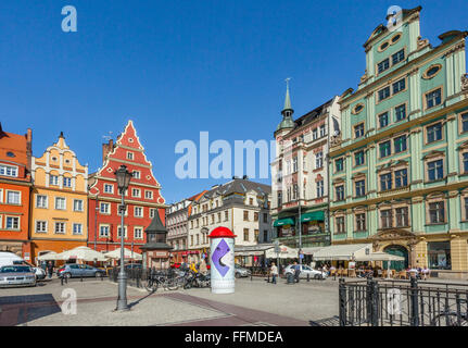 Poland, Lower Silesia, Wroclaw (Breslau), patrician houses at Salt Market Square - Stock Photo