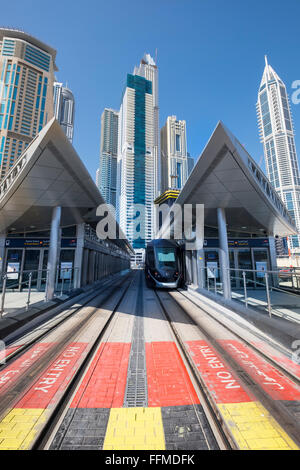 Modern railway station for Dubai Tram system in United Arab Emirates - Stock Photo