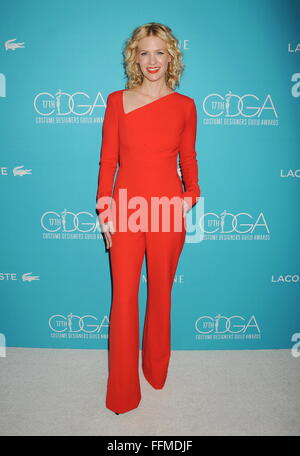 Actress January Jones attends the 17th Costume Designers Guild Awards at The Beverly Hilton Hotel on February 17, - Stock Photo