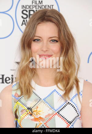 Actress Gillian Jacobs arrives at the 2015 Film Independent Spirit Awards on February 21, 2015 in Santa Monica, - Stock Photo