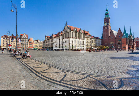 Poland, Lower Silesia, Wroclaw (Breslau), new and old Town Hall at the Market Square - Stock Photo