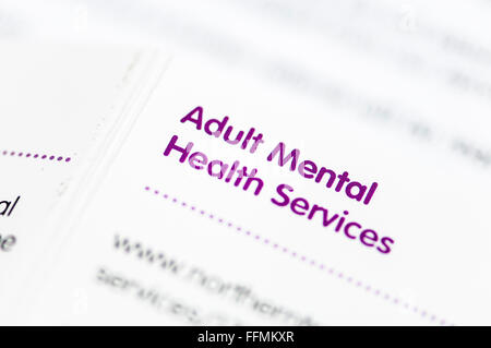 Directory of Adult Mental Health Services for Northern Ireland. - Stock Photo