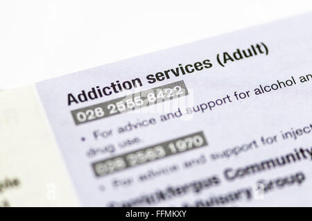 Directory of Adult addiction services and other Mental Health Services - Stock Photo
