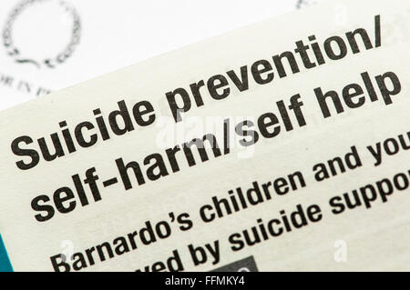 Directory of self-harm, suicide prevention and other Mental Health Services - Stock Photo