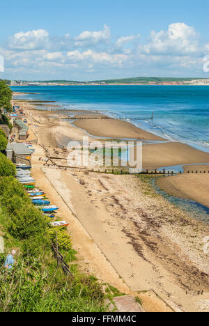 View over the coastline of Shanklin at the Isle of Wight in South England. | Strand von Shanklin, Insel Isle of - Stock Photo