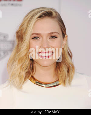 Actress Elizabeth Olsen arrives at the Marvel's 'Avengers: Age Of Ultron' - Los Angeles Premiere at Dolby Theatre - Stock Photo
