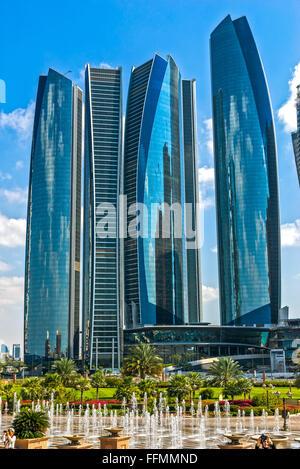 ABU DHABI, UAE - 08 FEBRUARY 2014: Etihad Towers buildings in Abu Dhabi. United Arab Emirates. Five towers complex - Stock Photo