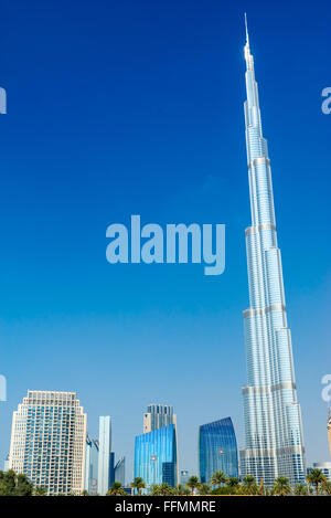 DUBAI, UAE - FEBRUARY 10: Burj Khalifa facade on February 10, 2014 in Dubai, UAE. Burj Khalifa is a tallest building in the worl Stock Photo