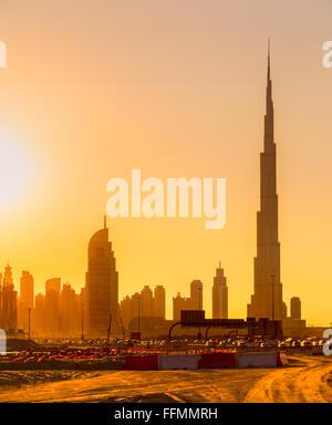 Dubai skyline at dusk, UAE. - Stock Photo