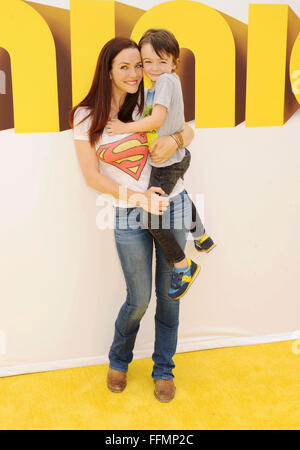 Actress Annie Wersching and son Freddie Full arrive at the premiere of Universal Pictures and Illumination Entertainment's 'Minions' at The Shrine Auditorium on June 27, 2015 in Los Angeles, California.,