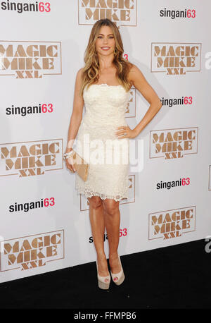 Actress Sofia Vergara arrives at the Los Angeles World Premiere of Warner Bros. Pictures' 'Magic Mike XXL' at TCL - Stock Photo
