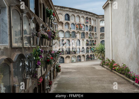 Poblenou Cemetery - Cementiri de l'Est (East cemetery) in Barcelona, Spain - Stock Photo
