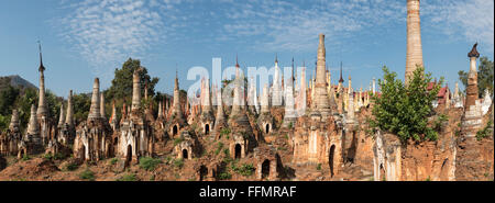 Panoramic view of Shwe Inn Thein Pagoda, a group of ruined Buddhist stupas in Inthein (Indein), Inle Lake, Shan - Stock Photo
