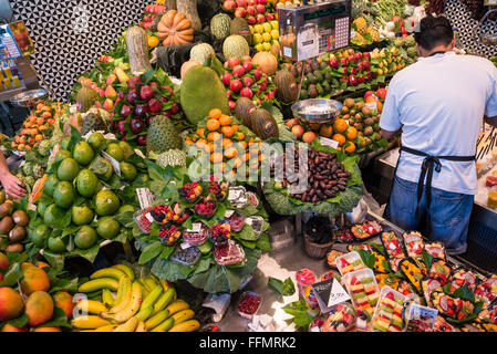 Fruits for sale at Mercat de Sant Josep de la Boqueria - famous public market, Ciutat Vella district, Barcelona, - Stock Photo