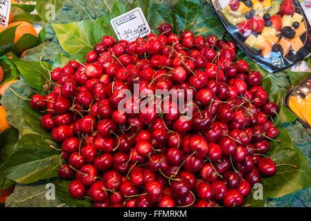sweet cherries for sale at Mercat de Sant Josep de la Boqueria - famous public market, Ciutat Vella district, Barcelona, - Stock Photo