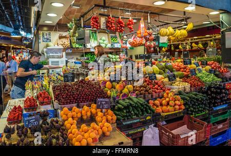 greengrocery stand at Mercat de Sant Josep de la Boqueria - famous public market, Ciutat Vella district, Barcelona, - Stock Photo