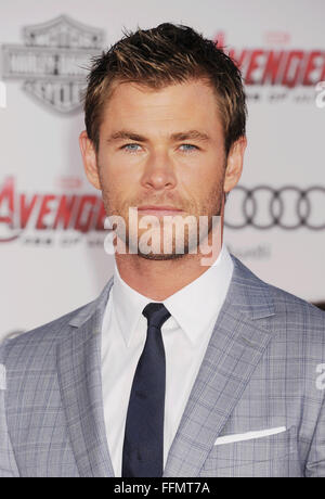 Actor Chris Hemsworth arrives at the Marvel's 'Avengers: Age Of Ultron' - Los Angeles Premiere at Dolby Theatre - Stock Photo