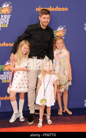 Soccer player Steven Gerrard and daughters Lilly-Ella Gerrard, Lexie Gerrard, Lourdes Gerrard arrive at the Nickelodeon - Stock Photo