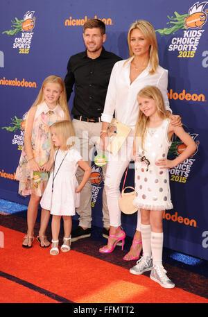 Soccer player Steven Gerrard, wife Alex Gerrard and daughters Lilly-Ella Gerrard, Lexie Gerrard, Lourdes Gerrard - Stock Photo
