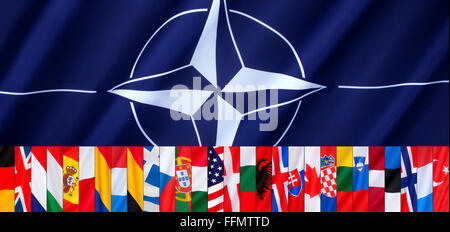 The 28 Flags of the countries of NATO - North Atlantic Treaty Organization - Stock Photo