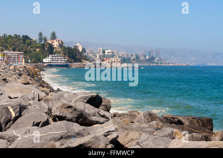 View on the Pacific Ocean coastline of Vina del Mar, Valparaiso Region in Chile. Stock Photo