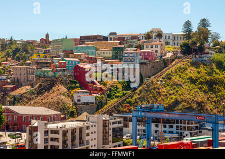 Two cars of Funicular in Valparaiso, Chile against background of colorful houses. - Stock Photo