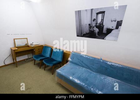 Room of First Lady of Yugoslavia Jovanka Broz in Josip Tito bunker, leader of former Yugoslavia, Konjic, Bosnia - Stock Photo