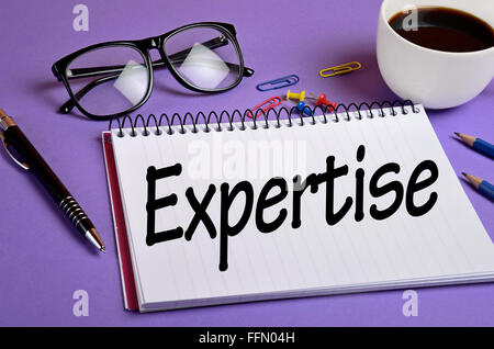 Expertise word on notepad closeup - Stock Photo