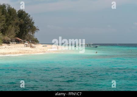 beach on the small island Gili Meno, Lombok, Indonesia, Asia - Stock Photo
