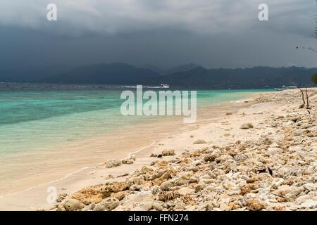 beach on the small island Gili Meno, Lombok, Indonesia, - Stock Photo
