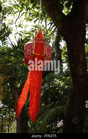 Chiang Mai Thai style red lantern hung from a tree - Stock Photo